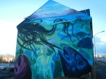 Swimming street art Reykjavik
